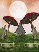 picture of fairy-mushroom  - Fantasy fairy Landscape in a field mushrooms - JPG