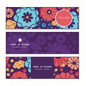 Vector colorful bouquet flowers horizontal banners set pattern background