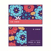 Vector colorful bouquet flowers horizontal stripe frame pattern business cards set