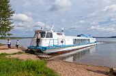 Excursion Ship On The Valday Lake Near The Iversky Monastery In Summer Day