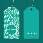 Vector emerald green plants vertical round frame pattern tags set