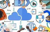 Brainstorming Sharing Online Global Communication Cloud Concept