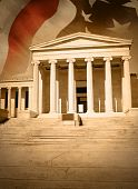 stock photo of judiciary  - A city courthouse law building with pillar columns and stairs - JPG