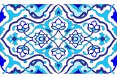 Blue Artistic Ottoman Pattern Series Fifty Six