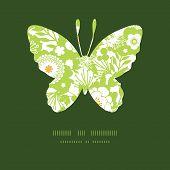 Vector green and golden garden silhouettes butterfly silhouette pattern frame