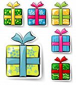 Set Of Holiday Gift Boxes Stickers