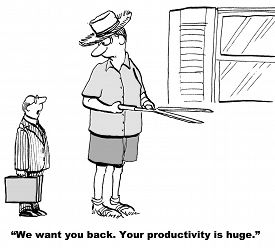 stock photo of productivity  - The businessman is asking the giant man to come back and work for the company - JPG