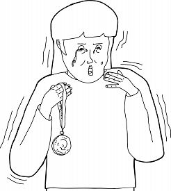 picture of spoiled brat  - Outline of woman with medal as a sore loser - JPG