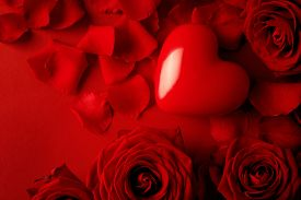 picture of valentine card  - Valentine red heart on red silk background - JPG