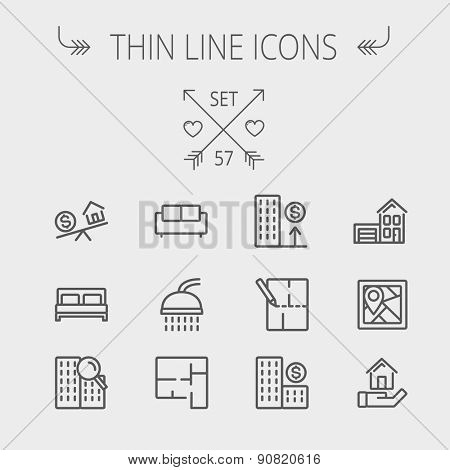 Real estate thin line icon set for web and mobile. Set includes- sofa, double bed, shower, drawing,