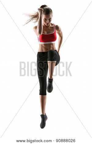 poster of Fitness Woman Aerobics. Fresh Energetic Female Fitness Instructor Doing Aerobics. Beautiful White Ca