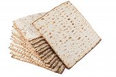 pic of matzah  - Matzot for pesach isolated on white background - JPG