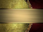 pic of nameplates  - Grunge gold background with red side and gold nameplate - JPG