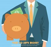 stock photo of coin bank  - Businessman holding piggy bank - JPG