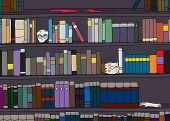 stock photo of gruesome  - Cartoon of strange library of books and body parts - JPG