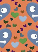stock photo of heartbreaking  - Seamless background pattern of hearts over orange - JPG