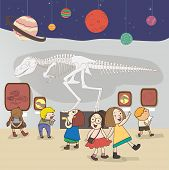 picture of dinosaur skeleton  - Children are having an educational study at the national museum create by vector - JPG