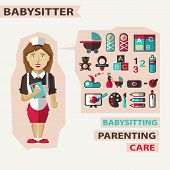 picture of babysitter  - Babysitter with infographic elements on a light background - JPG