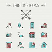picture of outline  - Real estate thin line icon set for web and mobile - JPG
