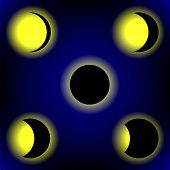 image of lunar eclipse  - Solar Eclipse Phases on Blue Sky Background - JPG