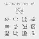 image of real  - Real estate thin line icon set for web and mobile - JPG