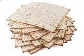 stock photo of matzah  - Matzot for pesach isolated on white background - JPG