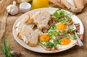 image of redneck  - Spring omelette with bacon egg and herbs homemade rustical bread - JPG