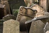 image of tombstone  - Abandoned tombstones at the Old Jewish Cemetery in Prague - JPG