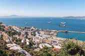 picture of gibraltar  - Aerial view over port city and straits of Gibraltar with the African coast in the background - JPG