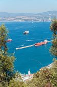 pic of gibraltar  - Aerial view of Gibraltar Bay from the top of the rock - JPG