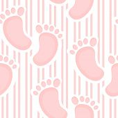 stock photo of soles  - Unique seamless pattern with pink stripes and baby sole - JPG