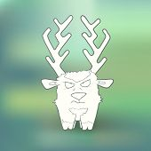 pic of deer horn  - Vector Illustration Hand Drawn angry deer with long horns on abstract blurred green background - JPG