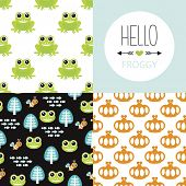 picture of cute frog  - Seamless frog prince theme cute forest animal design illustration background pattern collection for kids and hello froggy postcard cover design in vector - JPG