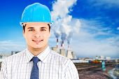 foto of jcb  - Photo of a mining engineer on industrial background - JPG