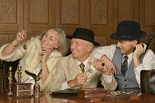 picture of gangster  - Gangsters companions on the table in retro style - JPG