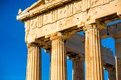 picture of parthenon  - Architectural fragment of Parthenon temple in Acropolis in Athens - JPG