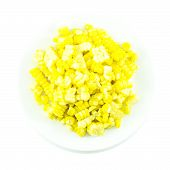 picture of sweet-corn  - Sweet yellow corn boiled and sliced on white background - JPG