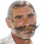 Portrait Of Positive Elderly Man With Moustaches