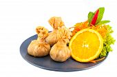 image of thai food  - Thai food Thai Money Bag or Bag of gold Traditional Thai art desserts on white background - JPG