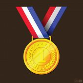 stock photo of gold medal  - A gold medal hanging from a red - JPG