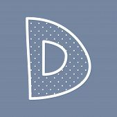 image of letter d  - D hand drawn vector letter with small white polka dots on blue background - JPG