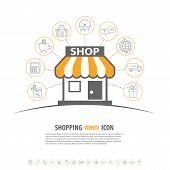 image of internet shop  - Internet Shopping vector concept with Line Icon Set and Flat Shop Icon for e - JPG