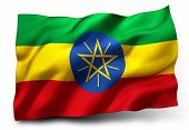 stock photo of ethiopia  - Waving flag of Ethiopia isolated on white background - JPG