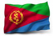 stock photo of eritrea  - Waving flag of Eritrea isolated on white background - JPG