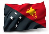 picture of papua new guinea  - Waving flag of Papua New Guinea isolated on white background - JPG