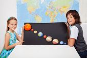 pic of earth mars jupiter saturn uranus  - Kids presenting their science home project  - JPG