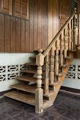 foto of carving  - wood staircase banister carving wooden thai style - JPG