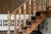 picture of carving  - wood staircase banister carving wooden thai style - JPG
