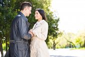 picture of flirt  - Smiling beautiful couple flirting in park - JPG