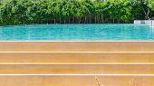image of heatwave  - Swimming Pool Side Edge on sunny day - JPG